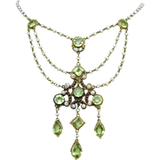 Antique Edwardian 14k Gold Peridot Gemstone Seed Pearl Festoon Swag Necklace