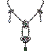 Antique Silver Austro Hungarian Genuine Tourmaline Green Garnet Gemstone Blister Pearl Enamel Cherub Drop Necklace