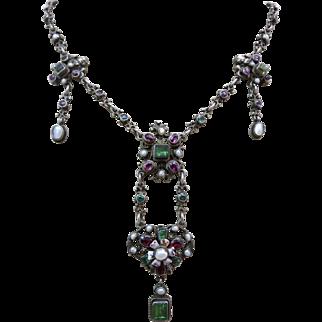 Antique Silver Austro Hungarian Genuine Tourmaline Green Garnet Gemstone Blister Pearl Enamel Cherub Drop Necklace