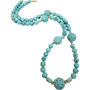 Chinese Carved Turquoise Stone Beaded Necklace Heavy 76 Grams