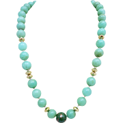 14k Gold Natural Jadeite Beaded Necklace Heavy 91 Grams