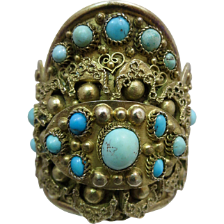 Antique Chinese Natural Turquoise Gilded Sterling Silver Cuff Bracelet 113 Grams