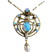 Antique 14K Gold Opal Seed Pearl Pendant Necklace Brooch Pin