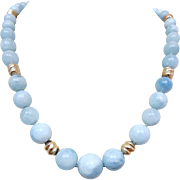 Vintage 14k Gold Aquamarine Gemstone Beaded Necklace
