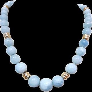 Vintage 14k Gold Aquamarine Gemstone Beaded Necklace