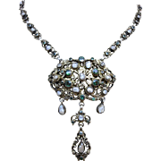 Antique Genuine Natural Emerald Blister Pearls 800 Silver Drop Pendant Necklace