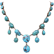 Antique Victorian Natural Turquoise 9k Gold Drop Festoon Necklace