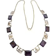 Art Deco 14k Gold Chinese Purple Spinel Gemstone Necklace