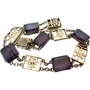 Art Deco 14k Gold Chinese Purple Spinel Gemstone Bracelet