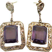 Art Deco 14k Gold Chinese Purple Spinel Gemstone Earrings