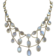 Antique Edwardian 9K Gold Glowing Moonstone Festoon Necklace