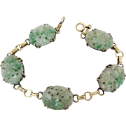 Art Deco 14k Gold Natural Carved Jadeite Jade Bracelet