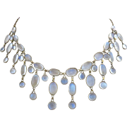 Antique Victorian 9k Gold Glowing Moonstone Festoon Drop Necklace
