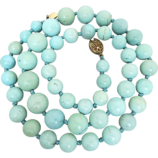 Sterling Silver Old Chinese Natural Turquoise Necklace