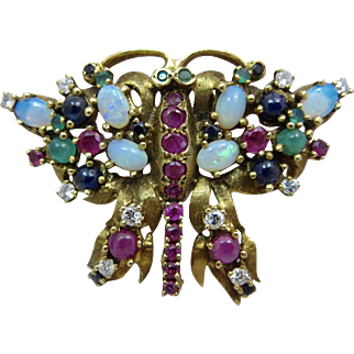 14k Gold Jack Gutschneider Diamond Opal Sapphire Ruby Emerald Multi Gemstone Butterfly Brooch Pin
