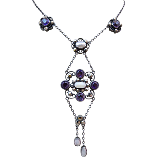 Antique Arts & Crafts Natural Amethyst Blister Pearl Cut Steele Lavaliere Drop Necklace
