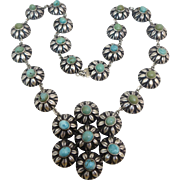 Mexican Sterling Silver Natural Turquoise Pendant Necklace