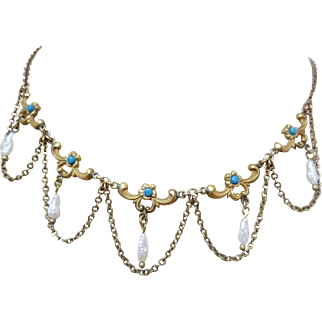 Antique Edwardian Turquoise Glass Natural Pearl Festoon Swag Necklace