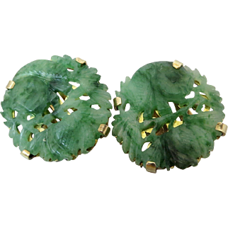 Rare 14K Gold Ming's Mings Carved Natural Jadeite Earrings
