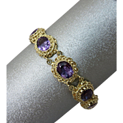 Retro 14k Gold Natural Amethyst Gemstone Bracelet