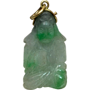 Art Deco 14k Gold Carved Jadeite Jade Quanyin Charm Pendant for Necklace