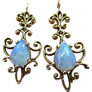 14k Gold Natural Opal Victorian Revival Drop Earrings Hallmarked