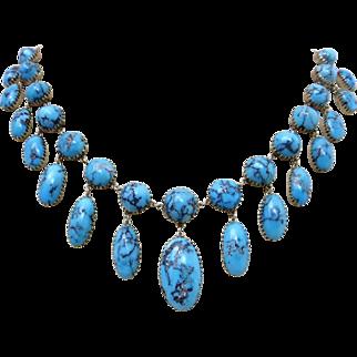 Antique  Victorian 9k Rose Gold Persian Turquoise Drop Festoon Necklace
