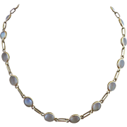 Retro 14k Gold Natural Moonstone Open Back Bezel Set Necklace