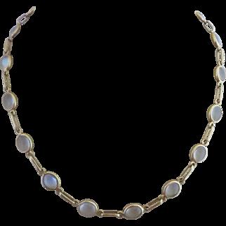 Retro 14k Gold Natural Moonstone Open Back Bezel Set Necklace
