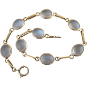 Retro 14k Gold Natural Moonstone Open Back Bezel Set Bracelet