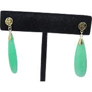 Retro 14k Gold Chinese Drop Apple Jadeite Jade Earrings