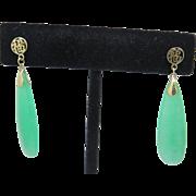 Retro 14k Gold Chinese Drop Apple Jadeite Jade Earrings