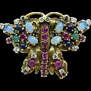 Retro 14k Gold Jack Gutschneider Diamond Opal Sapphire Ruby Emerald Multi Gemstone Butterfly Brooch Pin