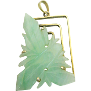 14k Gold Carved Butterfly Jadeite Jade Charm Pendant for Necklace