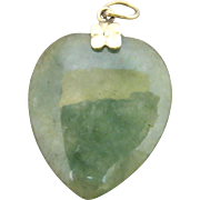 14k Gold Carved Jade Charm Pendant for Necklace