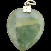 14k Gold Carved Jade Charm Pendant for Necklace