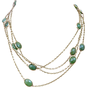 "Art Deco 14k Gold Jade Open Back Bezel Set Watch Chain Necklace 66"" Long"