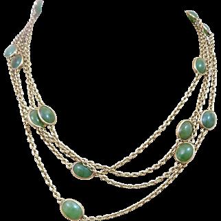 "Art Deco 14k Gold Jade Open Back Bezel Set Watch Chain Necklace 66"" Long"
