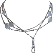 Art Deco Sterling Siver Moonstone Open Back Bezel Set Watch Muff Chain Necklace