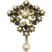 Retro 14k Gold Sapphire & Cultured Pearl Pendant Brooch Pin