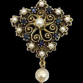 Retro 14k Gold Sapphire & Cultured Pearl Pendant Brooch Pin