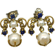 Retro 14k Gold Sapphire & Cultured Pearl Earrings