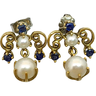 Retro 14k Gold Sapphire & Cultured Pearl Earrings