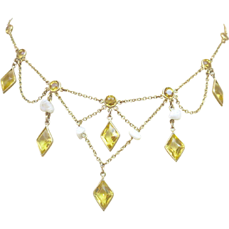Antique Edwardian Natural Pearl Citrine Paste Gold Fill Swag Necklace