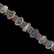 Art Deco 14k Gold Ceylon Moonstone & Ruby Bracelet