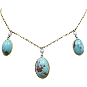Antique Edwardian 14k Gold Natural Pearl Turquoise Drop Necklace