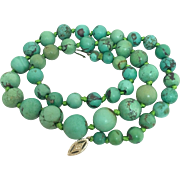 Art Deco 14k Gold Chinese Turquoise Beaded Necklace