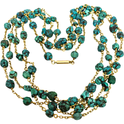Art Deco 14k Gold Turquoise Gemstone Nugget Necklace Guard Muff Chain