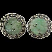 Antique Chinese Carved Jadeite Jade Sterling Silver Earrings
