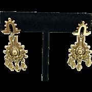 14k Gold Victorian Revival Dangle Earrings